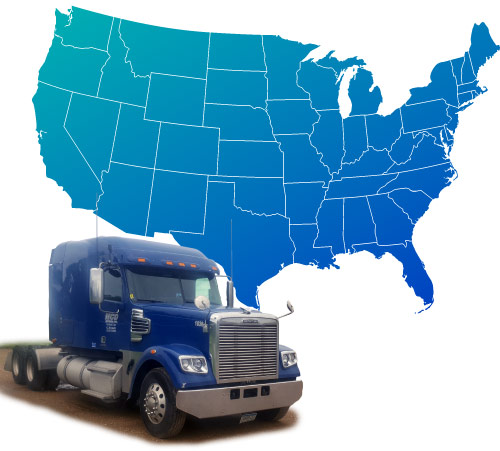 Service Area Map: Continental United States shaded in blue with an isolated MCD Express truck sitting infront of it